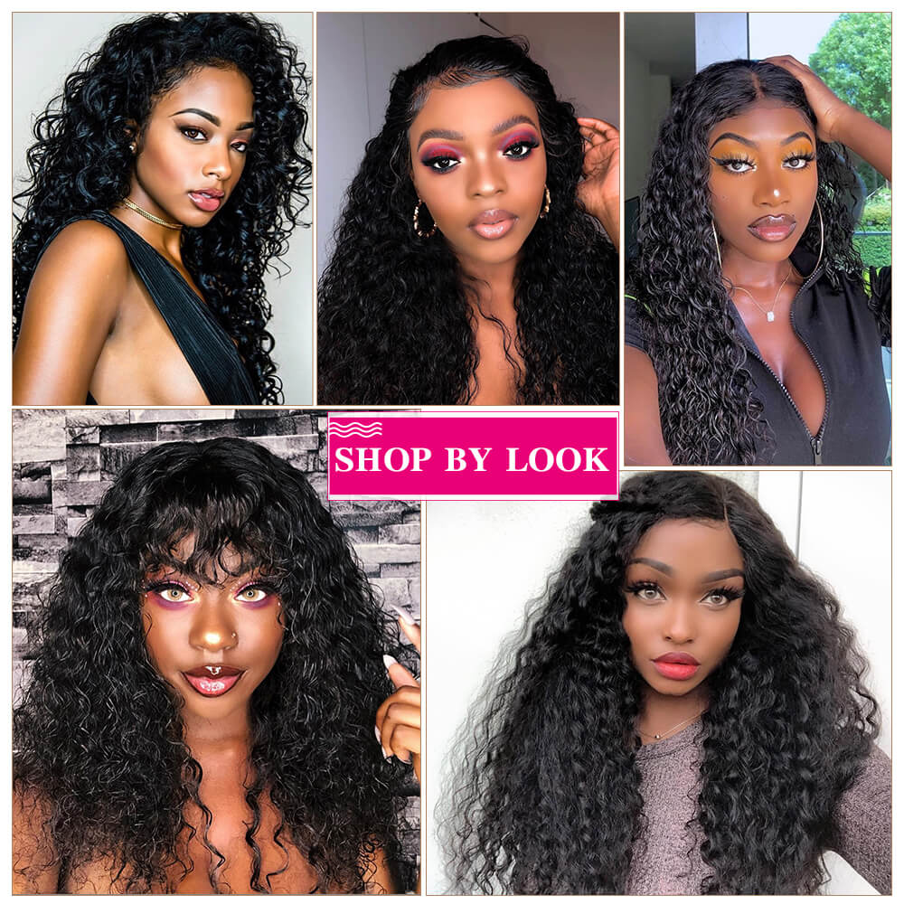 Human Hair Wigs Water Wave 13x4 Inch Lace Frontal Wig 210% Density For Sale