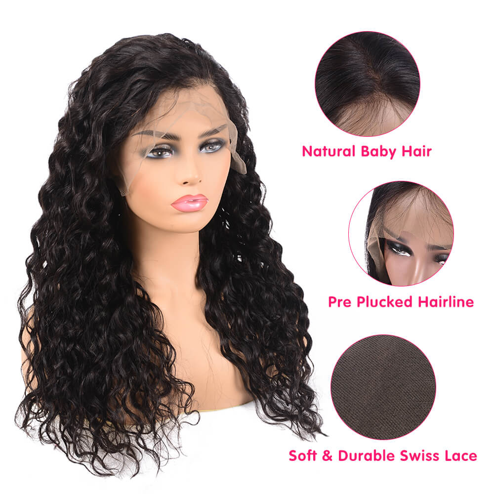 Double Drawn 15A Water Wave Human Hair Wig 13x6 Inch Lace Frontal Wig Online