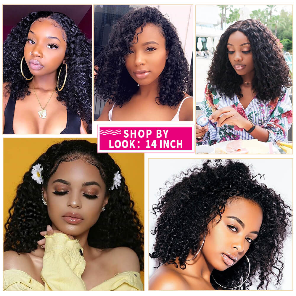 "Summer Sale Water Wave Bob Lace Front Wig 13x4 Inch Human Hair Lace Frontal Wig 14"" Sale Online"