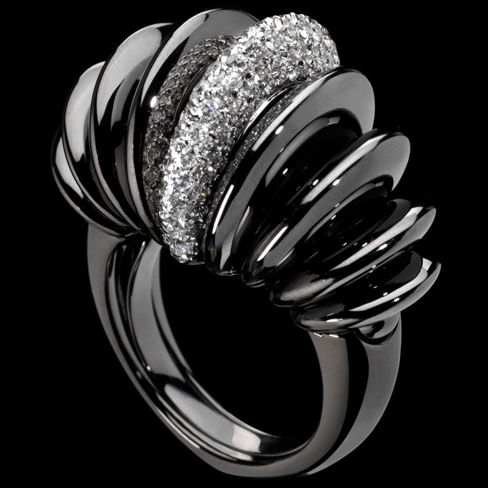 Ring Black gold - White diamonds