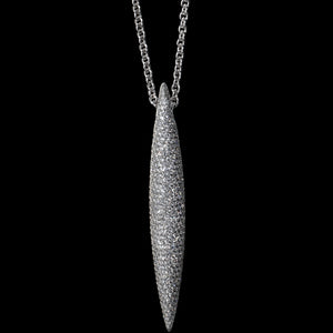 Pendant chain 7 cm White gold - White diamond