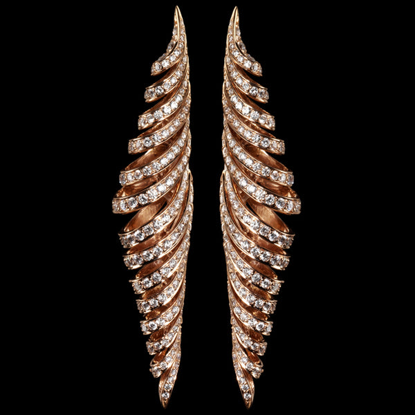 Earring Pink gold - White diamonds