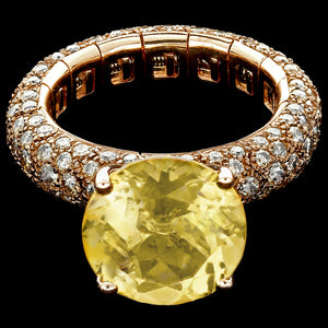 Ring spring Yellow gold - Brown diamonds