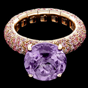 Ring spring Pink gold - Pink sapphires and central amethyst