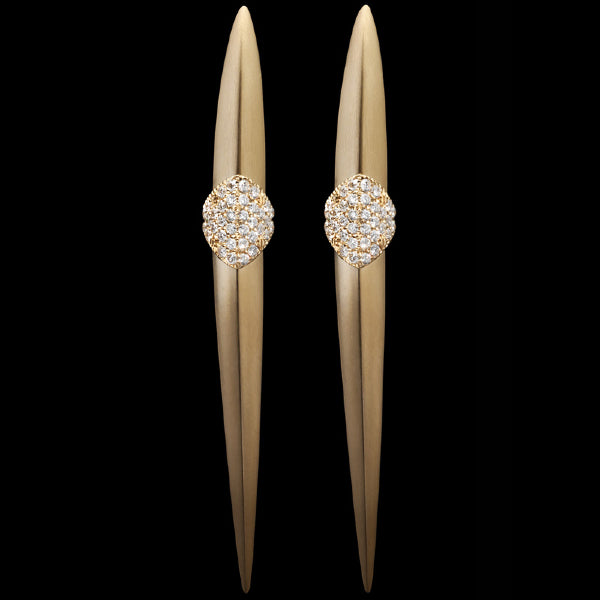 Earrings asymmetrical Yellow brushed gold - White diamonds
