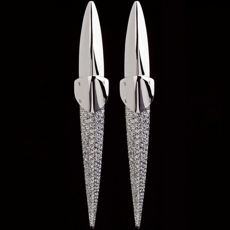 Earrings asymmetrical White gold - White diamond