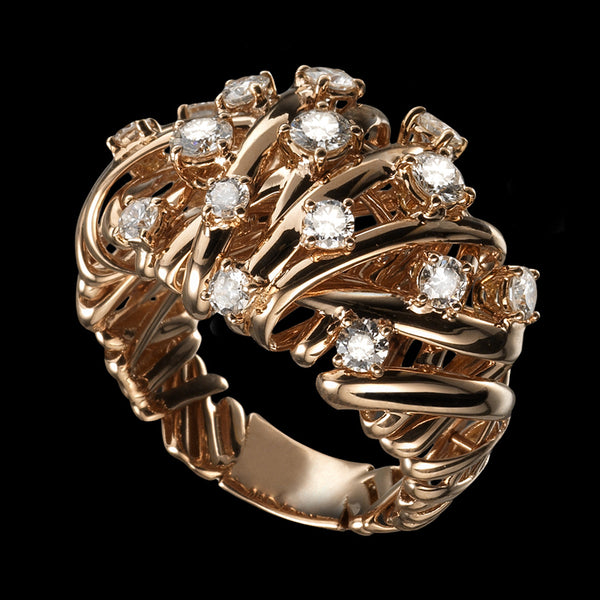 Ring Pink gold - White diamonds