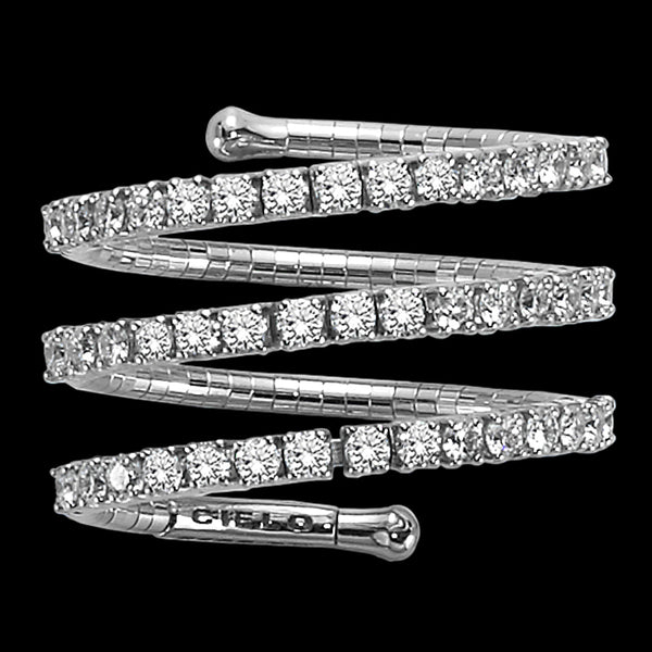 Ring 3 rows White gold - White diamonds