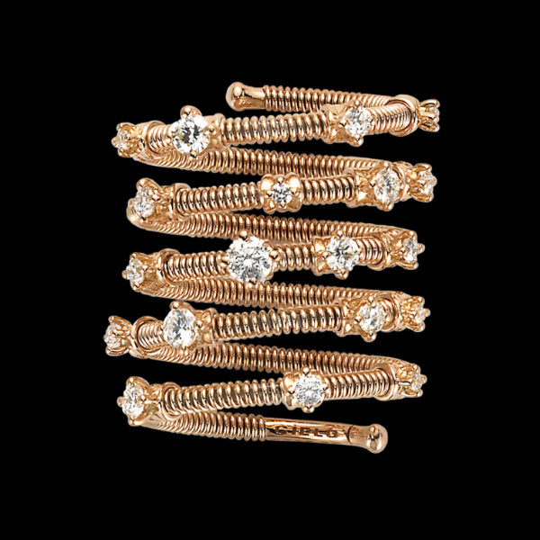 Ring 5 rows Pink gold - White diamonds