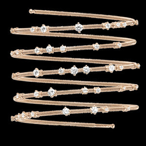Bracelet 5 rows Pink gold - White diamonds