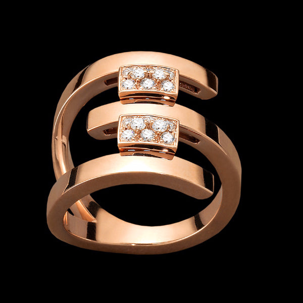 Ring 3 rows Pink gold - White diamonds