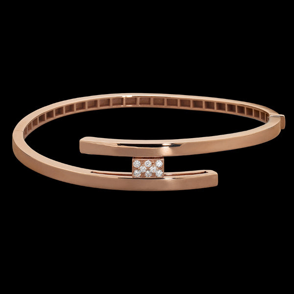 Bracelet one pavè diamond Pink gold White diamonds