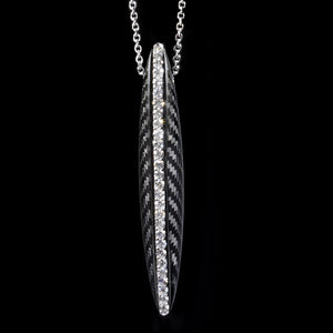 Pendant in carbon White gold - White diamonds