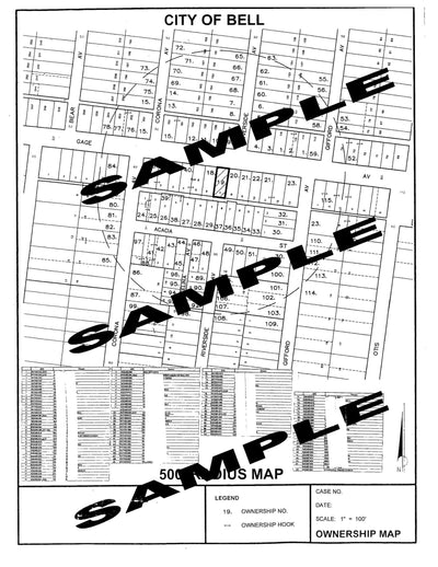 Bell-Radius Map-Property Owner List-300 Feet-500 Feet Alcohol-Labels