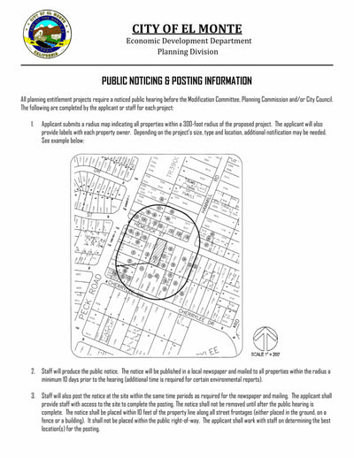 El Monte-Public Noticing-Radius Map-Property Owner List-300 Feet-Labels