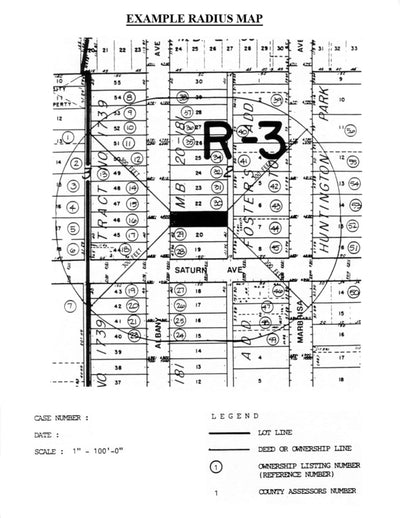 Huntington Park-Radius Map-Property Owner List-300 Foot-Labels