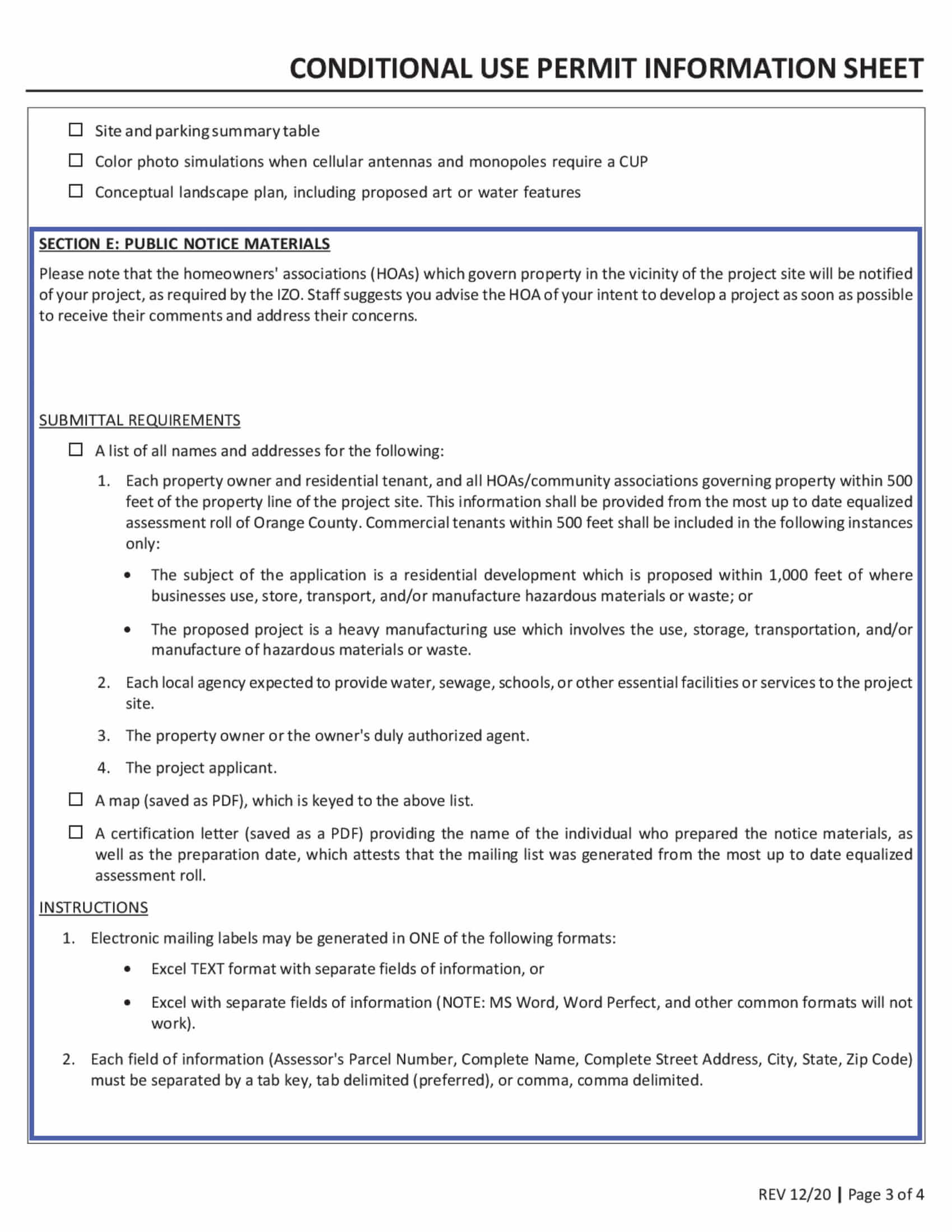 Irvine Conditional Use Permit Information Sheet Public Notice Materials
