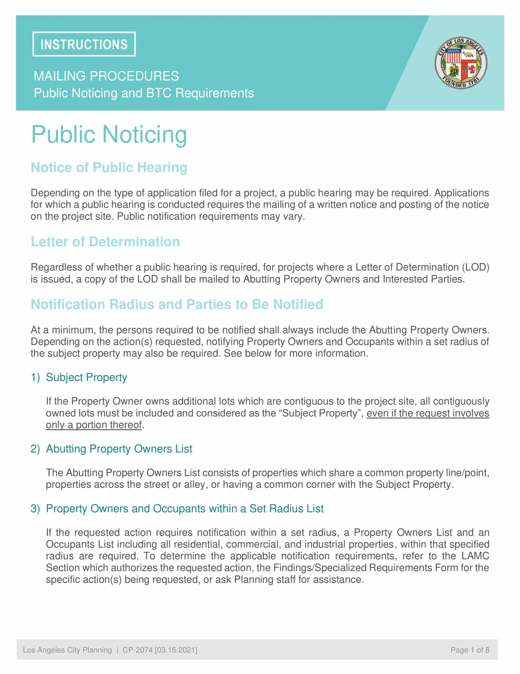 Mailing Procedures Public Noticing and BTC Requirements City of Los Angeles