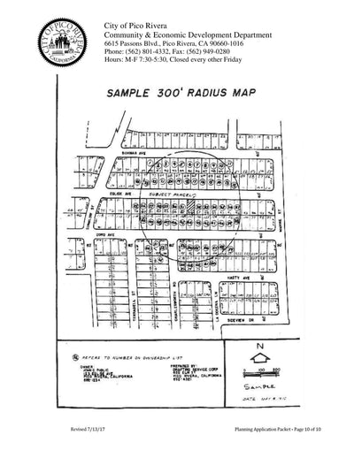 Pico Rivera-Public Noticing-Radius Map-Property Owner List-300 Foot-Labels