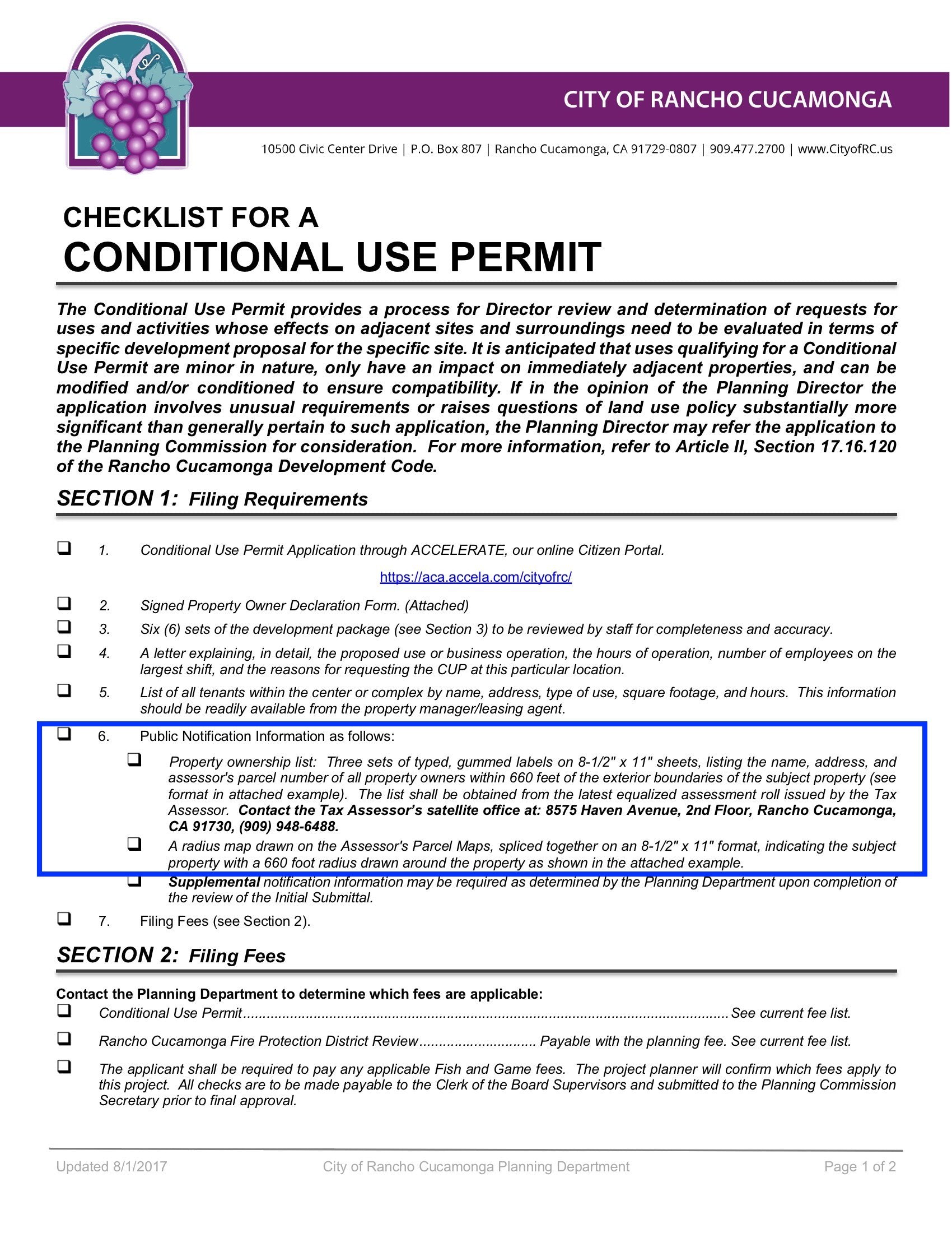 City of Rancho Cucamonga Checklist Conditional Use Permit Public Notification Information
