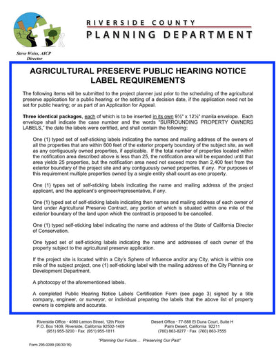 County Of Riverside-Riverside County-Agricultural Preserve Public Hearing Notice Label Requirements-Certification Form-Exhibit Map-600 Feet