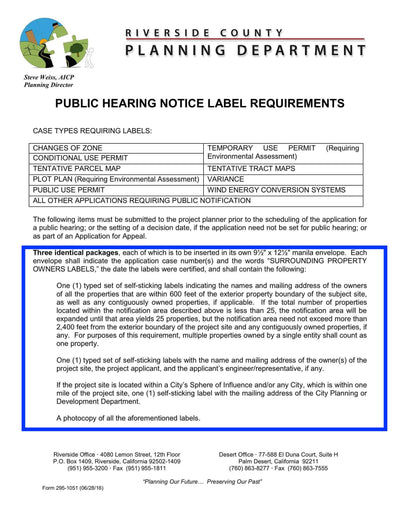 County Of Riverside-Riverside County-Public Hearing Notice Label Requirements-Certification Form-Exhibit Map-600 Feet
