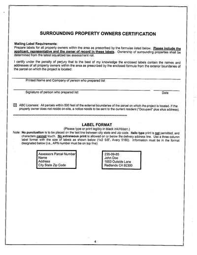 San Bernardino County Surrounding Property Owners Certification. Mailing Label Requirements.