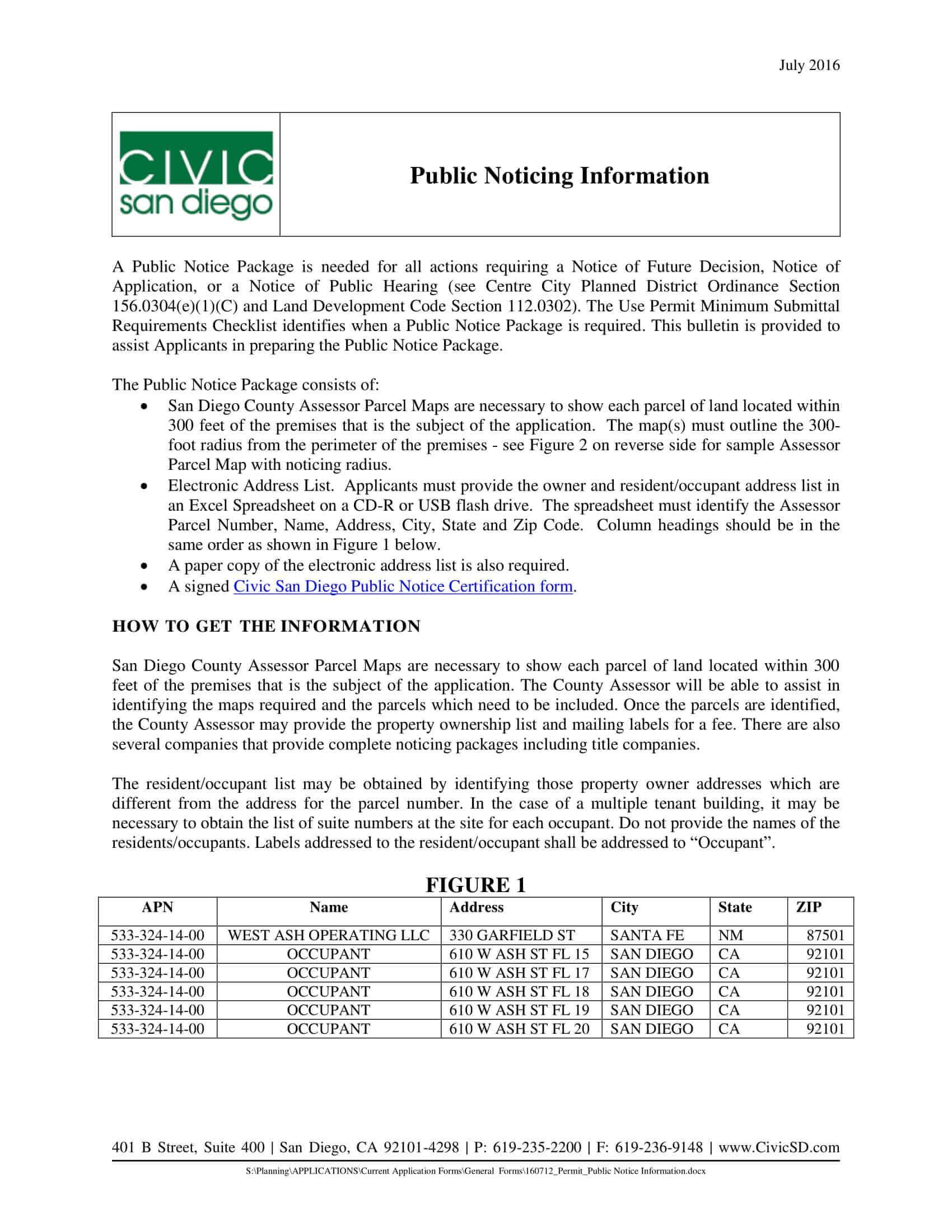 San Diego Civic Public Noticing Information 300 feet address list certification
