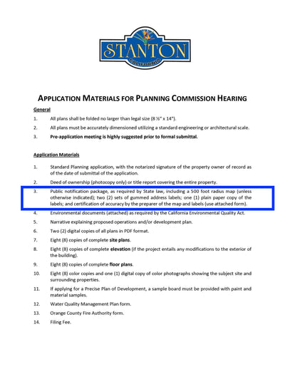 Stanton-Application Materials-Planning Commission-Radius Map-500 Feet-Property Owner List-Labels
