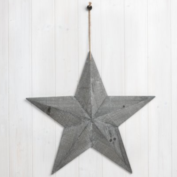Large Wooden Greywash Barn Star