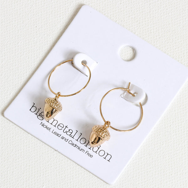 Acorn Little Hoop Earrings
