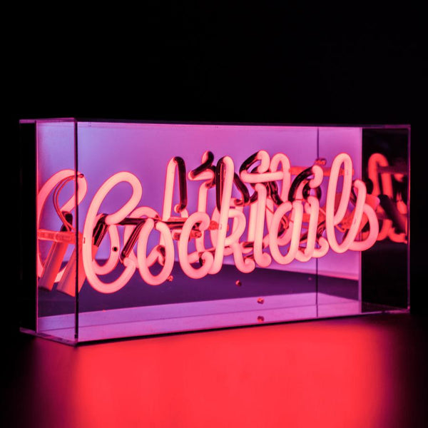 'Cocktails' Acrylic Box Neon