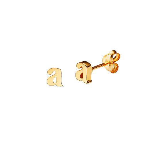 Gold Plated Stud Letter Earring