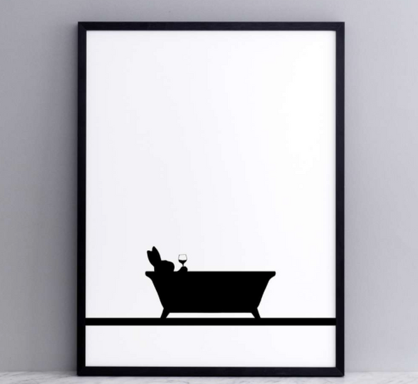 Bathtime Rabbit Print - Framed