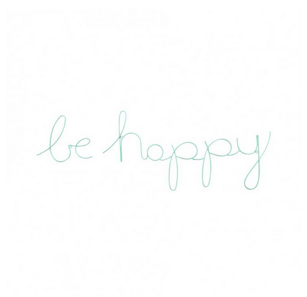 Be Happy - Wire Words Turquoise