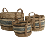 Straw and Corn Baskets - Blue Stripes