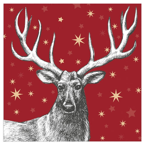 Christmas Stag Napkins - Red