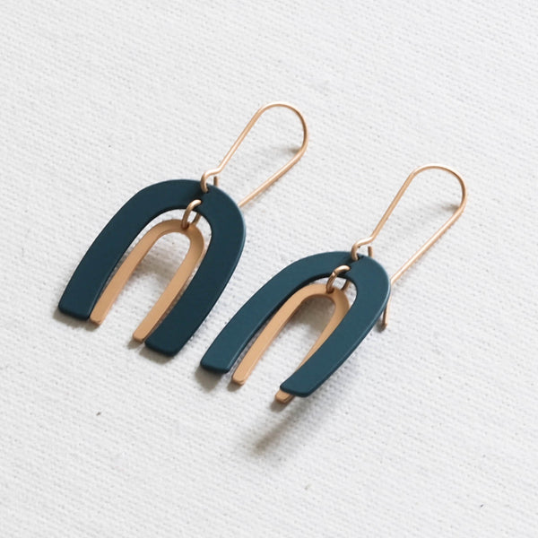 Coil Ark Two Tone Earrings