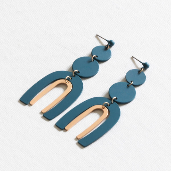 Disc Ark Two Tone Statement Earrings