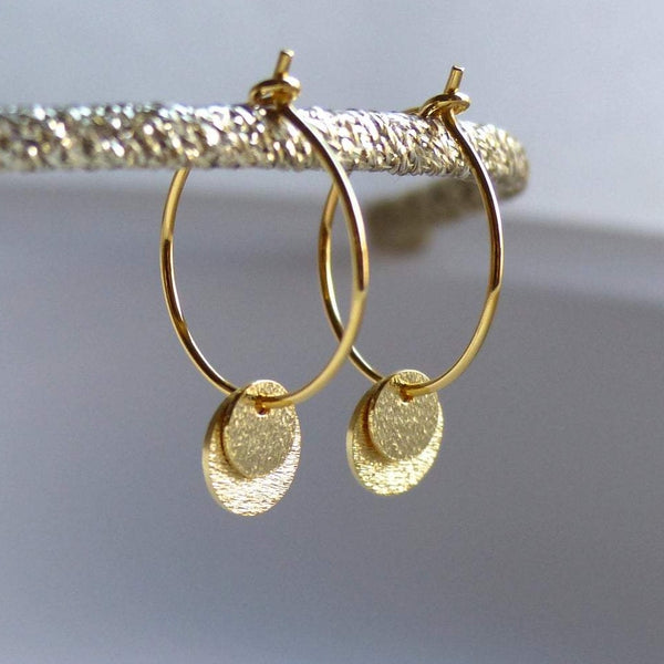 Double Disc Hoops in Gold