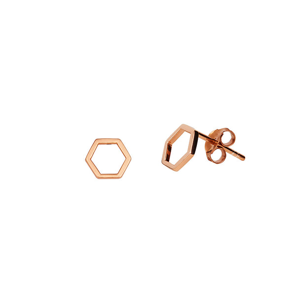JUULRY Rose Gold Hexagon Studs