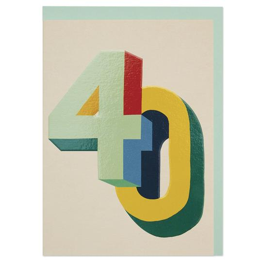 Bright colourful 3D numbers age 40