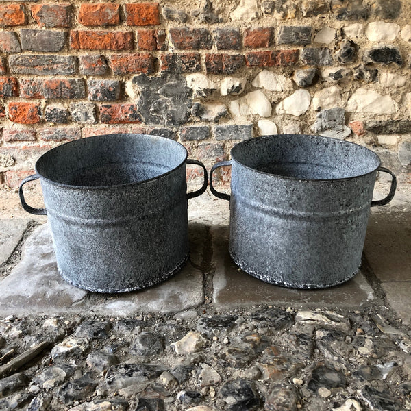 Double Handle Galvanised Planter Small
