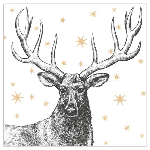 Christmas Napkins - Gold Stag