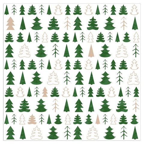 Christmas Napkins - Green Trees