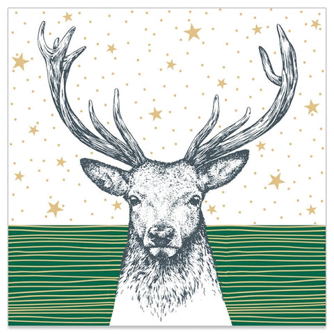 Christmas Napkins - Green and Star Stag