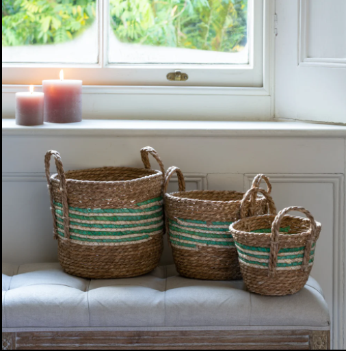 Straw and Corn Baskets - Green Stripes