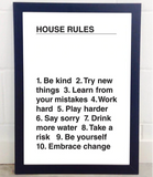 House Rules - A3 Print - Framed