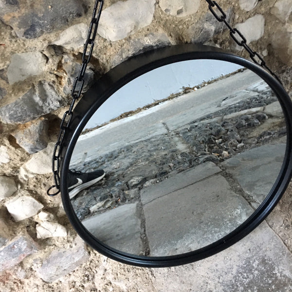 Black Chain Circle Mirror
