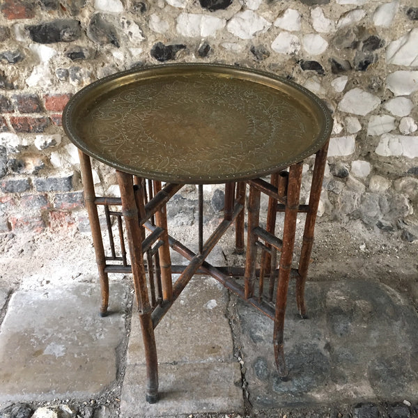 Vintage Bamboo & Brass Tray Table